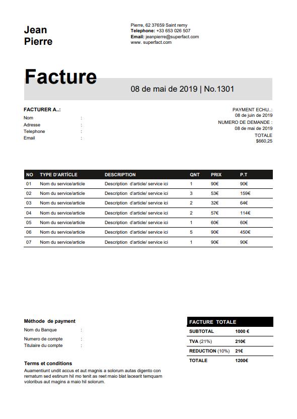 Exemples de modèles de facture en format Word, Excel à ...
