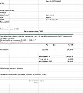 Modèle de facture d'acompte